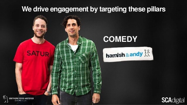 We drive engagement by targeting these pillars COMEDY