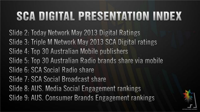 MAY 2013 – SCA DIGITAL RATINGSSource :Google Analytics - May 2012 – May 2013 – Five Today Network stationsTodayNetworktraf...