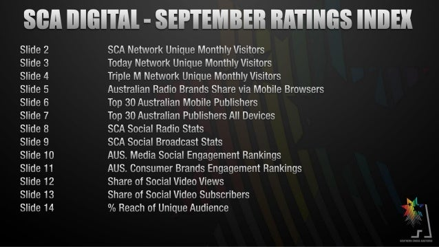 SEPTEMBER 2013  SCA DIGITAL RATINGS  SCA Network traffic increased 31% year on year in Unique Monthly Browsers to 2.4 mill...