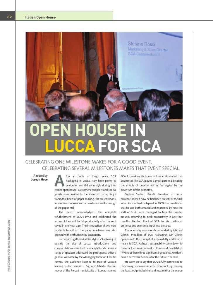 OPEN HOUSE IN                                                   LUCCA FOR SCA 32                                          ...