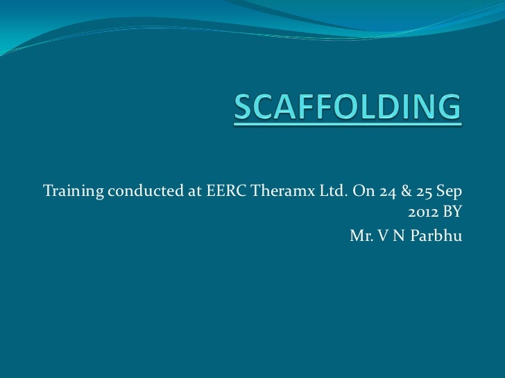 Training conducted at EERC Theramx Ltd. On 24 & 25 Sep                                               2012 BY              ...