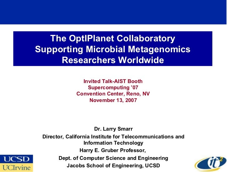 The OptIPlanet Collaboratory Supporting Microbial Metagenomics      Researchers Worldwide                  Invited Talk-AI...