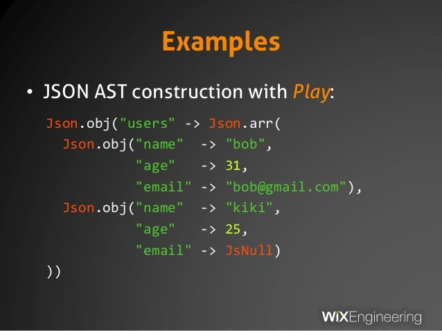 10 examples json