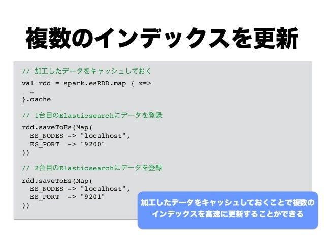 複数のインデックスを更新 // 加工したデータをキャッシュしておく! val rdd = spark.esRDD.map { x=>! …! }.cache! ! // 1台目のElasticsearchにデータを登録! rdd.saveToE...