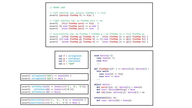 // MONAD LAWS // left identity law: pure(a) flatMap f == f(a) assert( (pure(a) flatMap f) == f(a) ) // right identity law:...