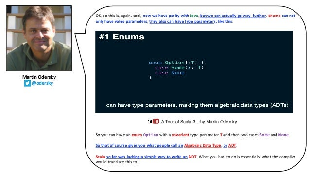 OK, so this is, again, cool, now we have parity with Java, but we can actually go way further. enums can not only have val...