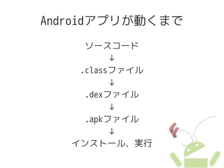Androidアプリが動くまで      ソースコード           ↓     .classファイル           ↓      .dexファイル           ↓      .apkファイル           ↓    ...