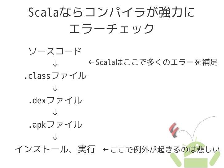 Scalaならコンパイラが強力に         エラーチェック   ソースコード        ↓    ←Scalaはここで多くのエラーを補足  .classファイル        ↓   .dexファイル        ↓   .apkフ...