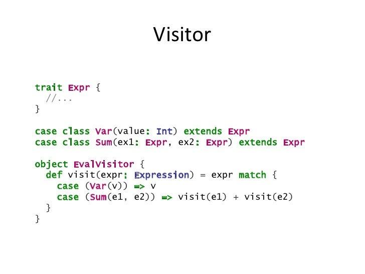 Visitortrait Expr {  //...}case class Var(value: Int) extends Exprcase class Sum(ex1: Expr, ex2: Expr) extends Exprobject ...