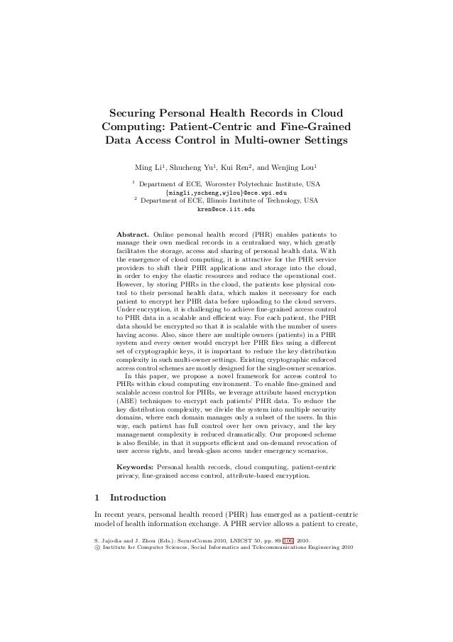 Securing Personal Health Records in Cloud Computing: Patient-Centric and Fine-Grained Data Access Control in Multi-owner S...