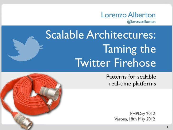 Lorenzo Alberton                     @lorenzoalbertonScalable Architectures:            Taming the      Twitter Firehose  ...