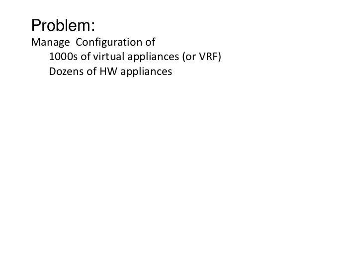 Problem:Manage Configuration of  1000s of virtual appliances (or VRF)  Dozens of HW appliances