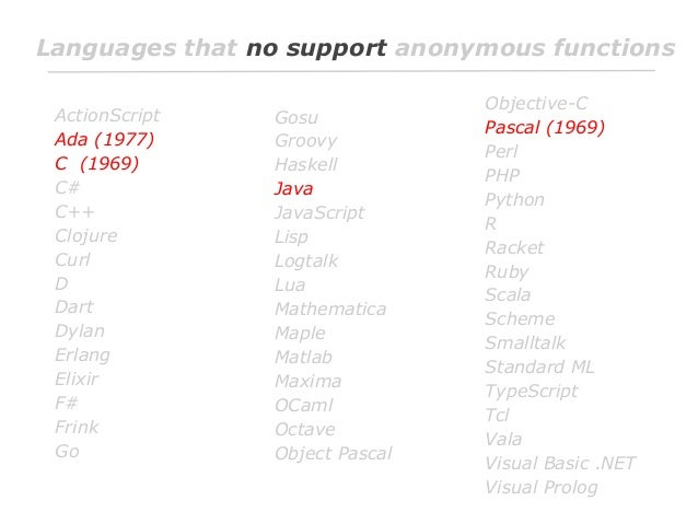Languages that no support anonymous functions ActionScript Ada (1977) C (1969) C# C++ Clojure Curl D Dart Dylan Erlang Eli...