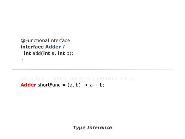 @FunctionalInterface interface Adder { int add(int a, int b); }  Adder func = (int a, int b) -> { return a + b }; Adder sh...