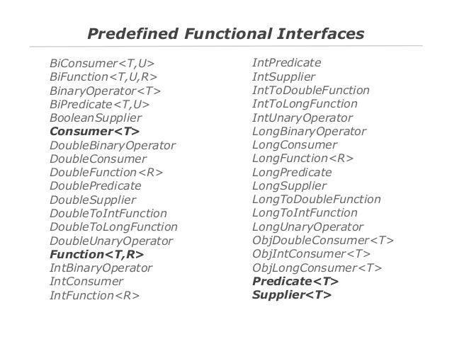 Predefined Functional Interfaces BiConsumer<T,U> BiFunction<T,U,R> BinaryOperator<T> BiPredicate<T,U> BooleanSupplier Cons...