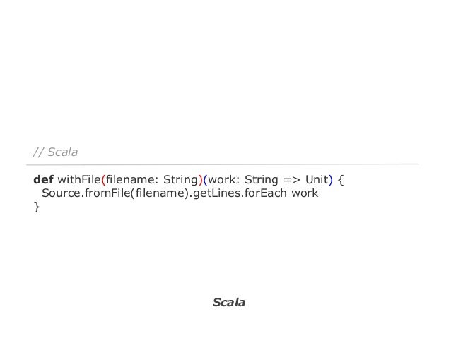 // Java8 - print each line to stdout withFile(filename, line -> System.out.println(line)); // Java8 - store each line to d...