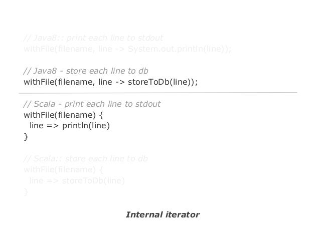 // Java8:: print each line to stdout withFile(filename, line -> System.out.println(line)); // Java8 - store each line to d...