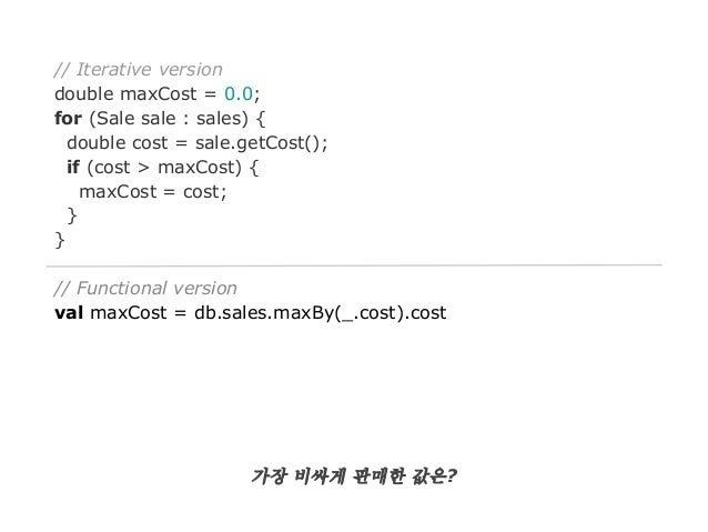 // Iterative version double maxCost = 0.0; for (Sale sale : sales) { double cost = sale.getCost(); if (cost > maxCost) { m...
