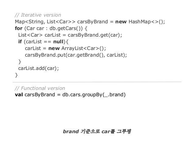 // Iterative version Map<String, List<Car>> carsByBrand = new HashMap<>(); for (Car car : db.getCars()) { List<Car> carLis...