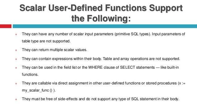 Scalar user defined function in sap hana