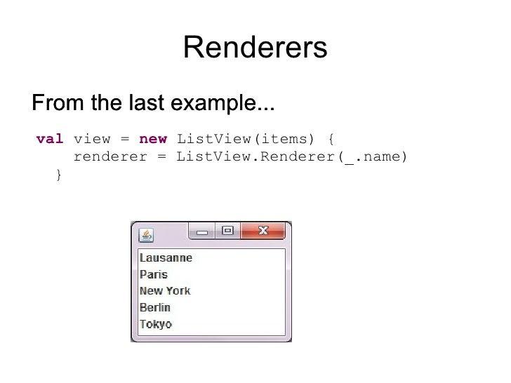 Introducing Scala Swing <ul><li>Thin wrapper framework