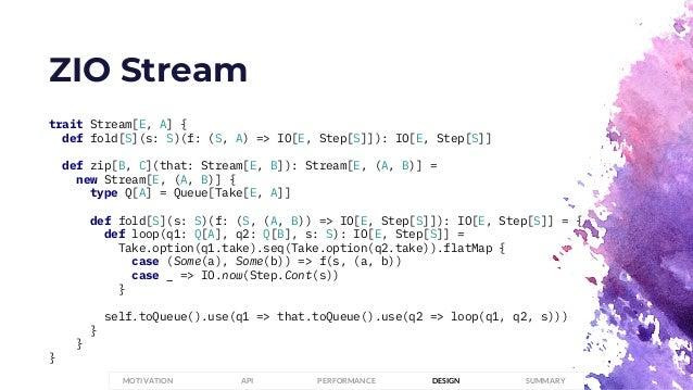 ZIO Stream trait Stream[E, A] { def fold[S](s: S)(f: (S, A) => IO[E, Step[S]]): IO[E, Step[S]] def zip[B, C](that: Stream[...