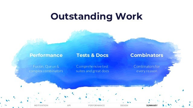 Fusion, Queue & complex combinators Performance Outstanding Work Comprehensive test suites and great docs Tests & Docs Com...