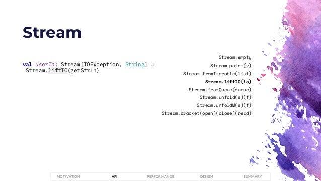 Stream PERFORMANCEMOTIVATION API DESIGN SUMMARY val userIn: Stream[IOException, String] = Stream.liftIO(getStrLn) Stream.e...