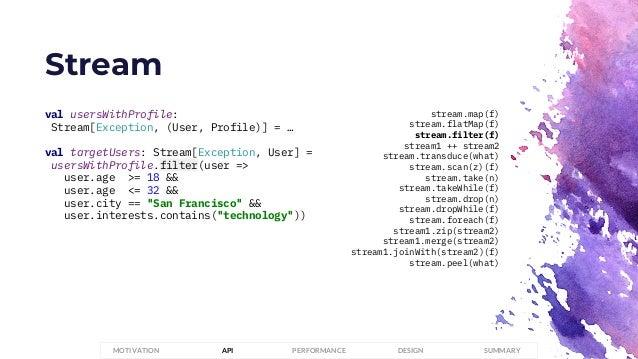 Stream PERFORMANCEMOTIVATION API DESIGN SUMMARY val usersWithProfile: Stream[Exception, (User, Profile)] = … val targetUse...