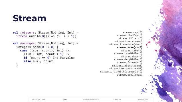 Stream PERFORMANCEMOTIVATION API DESIGN SUMMARY val integers: Stream[Nothing, Int] = Stream.unfold(0)(i => (i, i + 1)) val...