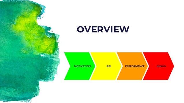 PERFORMANCE OVERVIEW MOTIVATION API DESIGN