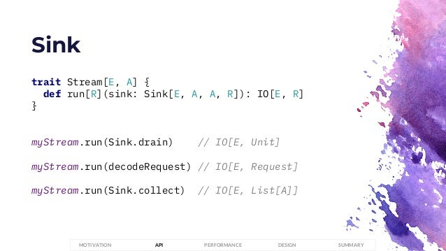 Sink PERFORMANCEMOTIVATION API DESIGN SUMMARY trait Stream[E, A] { def run[R](sink: Sink[E, A, A, R]): IO[E, R] } myStream...