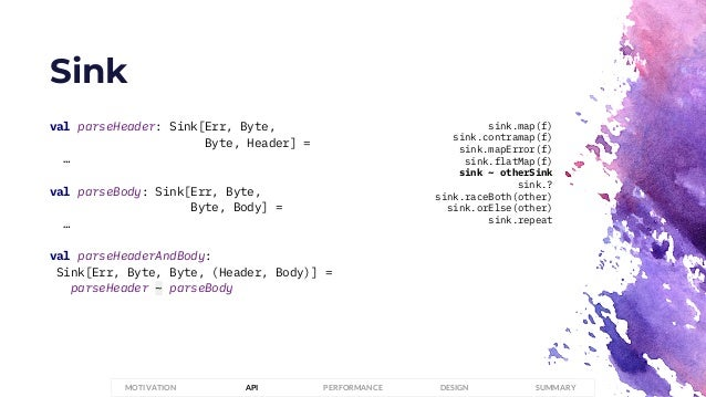 Sink PERFORMANCEMOTIVATION API DESIGN SUMMARY val parseHeader: Sink[Err, Byte, Byte, Header] = … val parseBody: Sink[Err, ...