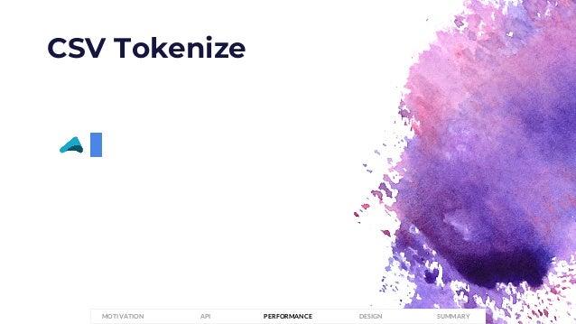 CSV Tokenize PERFORMANCEMOTIVATION API DESIGN SUMMARY