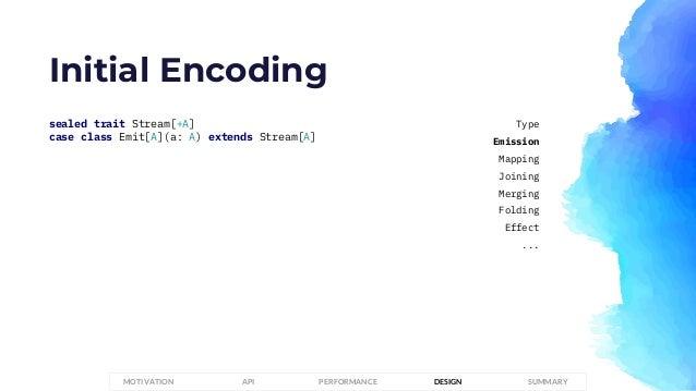 Initial Encoding sealed trait Stream[+A] case class Emit[A](a: A) extends Stream[A] PERFORMANCEMOTIVATION API DESIGN SUMMA...