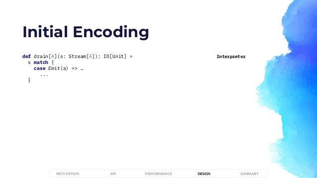 Initial Encoding def drain[A](s: Stream[A]): IO[Unit] = s match { case Emit(a) => … ... } Interpreter PERFORMANCEMOTIVATIO...