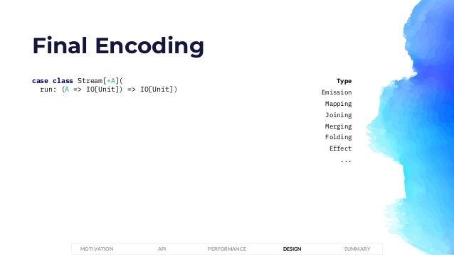 Final Encoding case class Stream[+A]( run: (A => IO[Unit]) => IO[Unit]) PERFORMANCEMOTIVATION API DESIGN SUMMARY Type Emis...