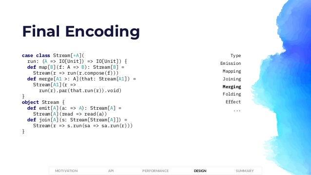 Final Encoding case class Stream[+A]( run: (A => IO[Unit]) => IO[Unit]) { def map[B](f: A => B): Stream[B] = Stream(r => r...