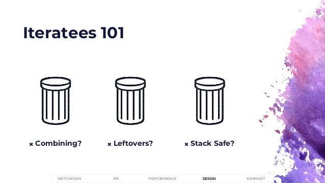 Iteratees 101 𐄂 Stack Safe?𐄂 Combining? 𐄂 Leftovers? PERFORMANCEMOTIVATION API DESIGN SUMMARY