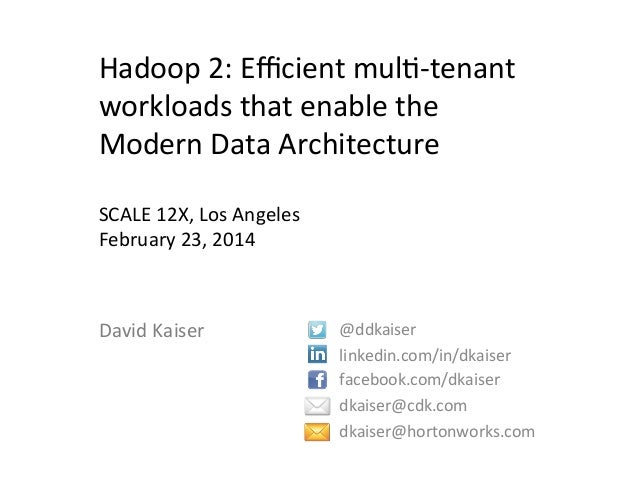 Hadoop	   2:	   Efficient	   mul3-­‐tenant	    workloads	   that	   enable	   the	    Modern	   Data	   Architecture	    	  ...