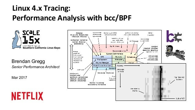 Brendan Gregg Senior Performance Architect Mar 2017 Linux	4.x	Tracing:	 Performance	Analysis	with	bcc/BPF