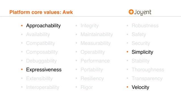 Platform core values: Awk • Approachability • Availability • Compatibility • Composability • Debuggability • Expressivenes...