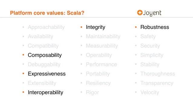 Platform core values: Scala? • Approachability • Availability • Compatibility • Composability • Debuggability • Expressive...