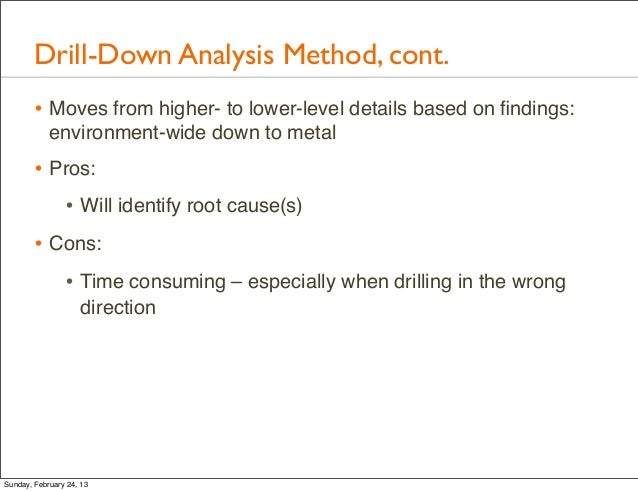 Drill-Down Analysis Method, cont.        • Moves from higher- to lower-level details based on findings:            environm...