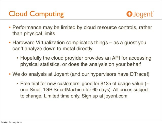 Cloud Computing        • Performance may be limited by cloud resource controls, rather            than physical limits    ...