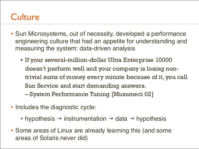 Culture • Sun Microsystems, out of necessity, developed a performance engineering culture that had an appetite for underst...
