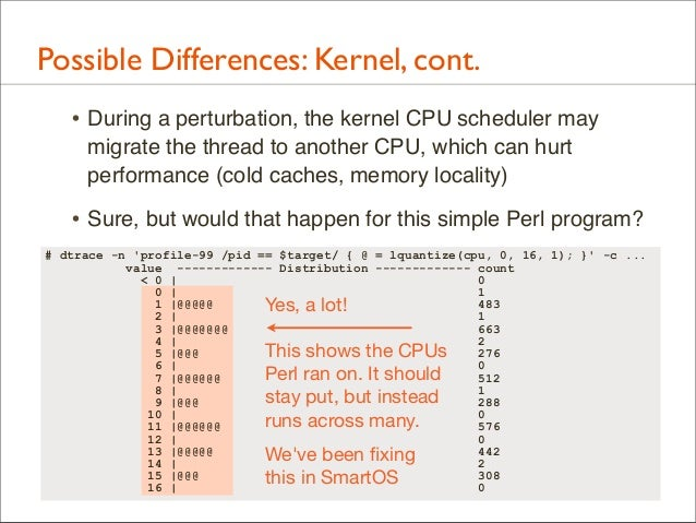 Possible Differences: Kernel, cont. • During a perturbation, the kernel CPU scheduler may migrate the thread to another CP...