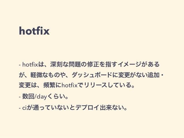 hotfix  - hotfixは、深刻な問題の修正を指すイメージがある  が、軽微なものや、ダッシュボードに変更がない追加・  変更は、頻繁にhotfixでリリースしている。  - 数回/dayくらい。  - ciが通っていないとデプロイ出来...