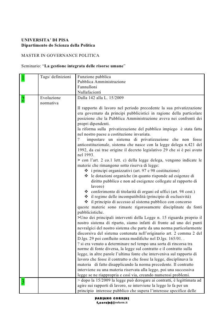 """UNIVERSITA' DI PISA Dipartimento do Scienza della Politica  MASTER IN GOVERNANCE POLITICA  Seminario: """"La gestione integra..."""