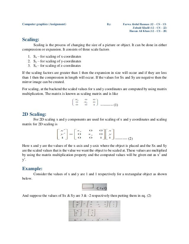 Computer graphics (Assignment) By: Farwa Abdul Hannan (12 – CS – 13) Zubaid Khalil (12 – CS – 22) Hassan Ali Khan (12 – CS...